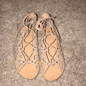 Mossimo tan lace up sandals